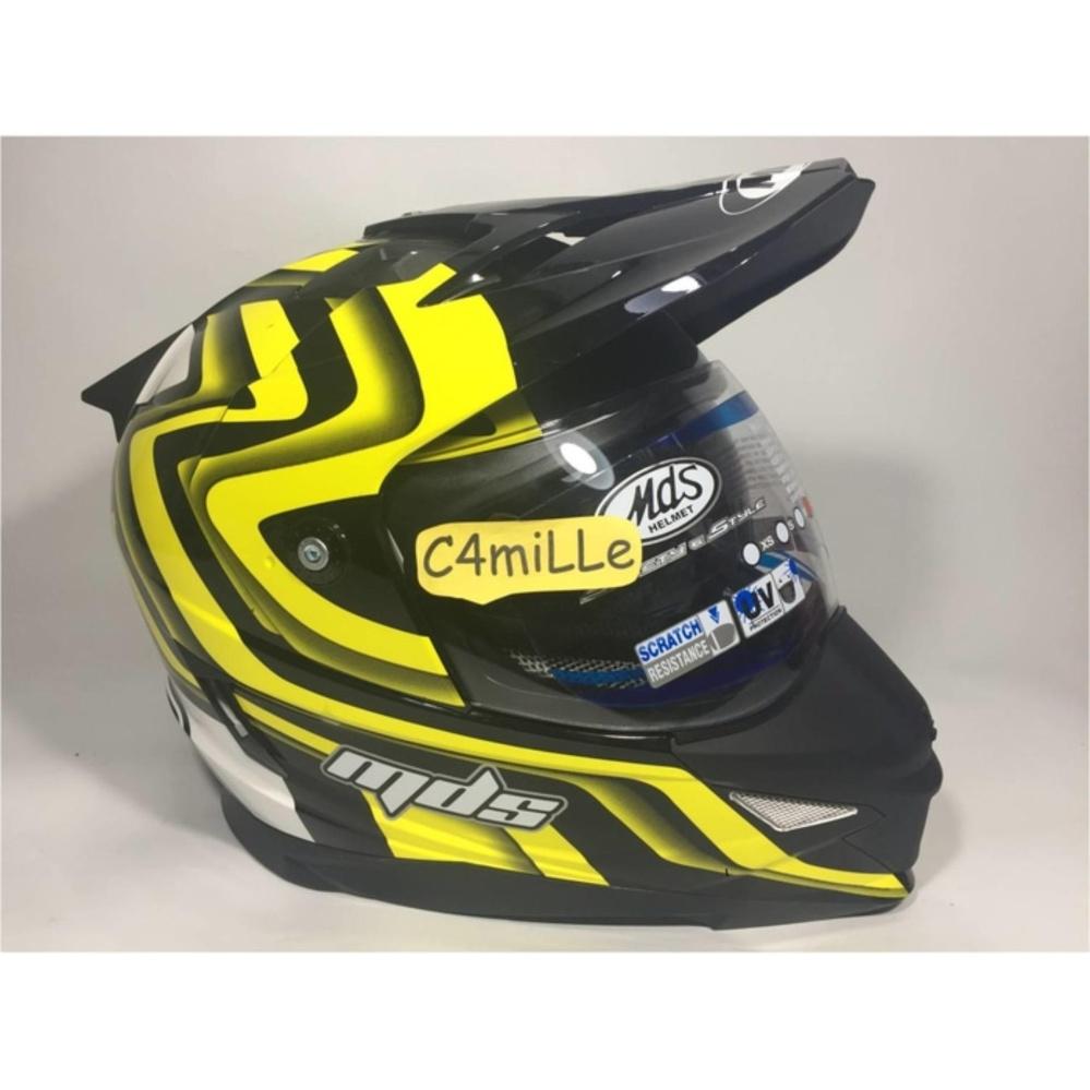 Helm MDS Super Pro White Black Yellow Double Visor Full Face Cross