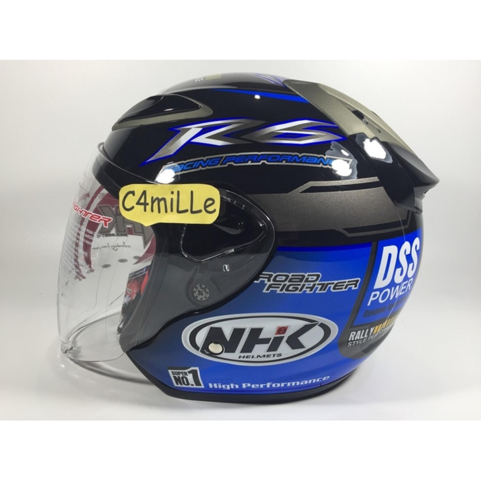 Helm NHK R6 Rally Black Blue Half Face   .