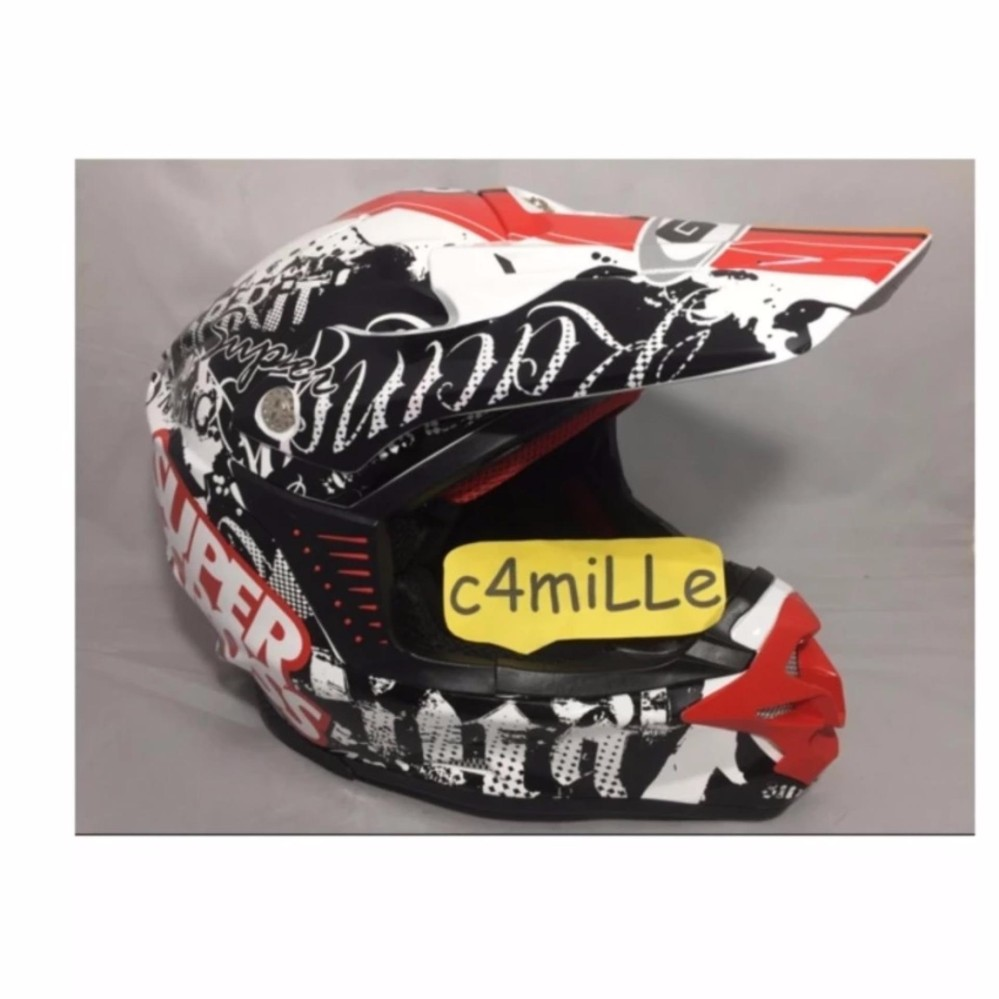 Helm Trail GM Super Cross Racing Star White Red .
