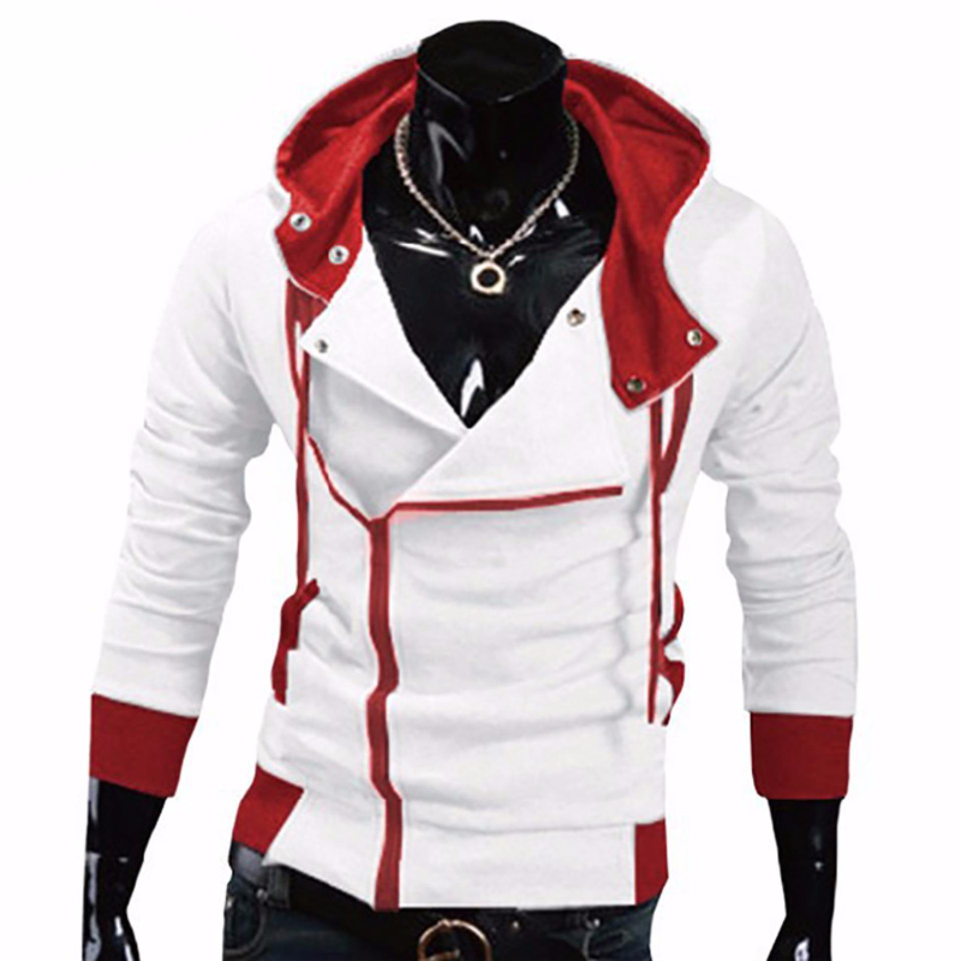 Review Hequ Aliexpress Explosion Of Assassin S Creed Sweater Oblique Zipper Hooded Jacket Men S W20 White Intl Terbaru