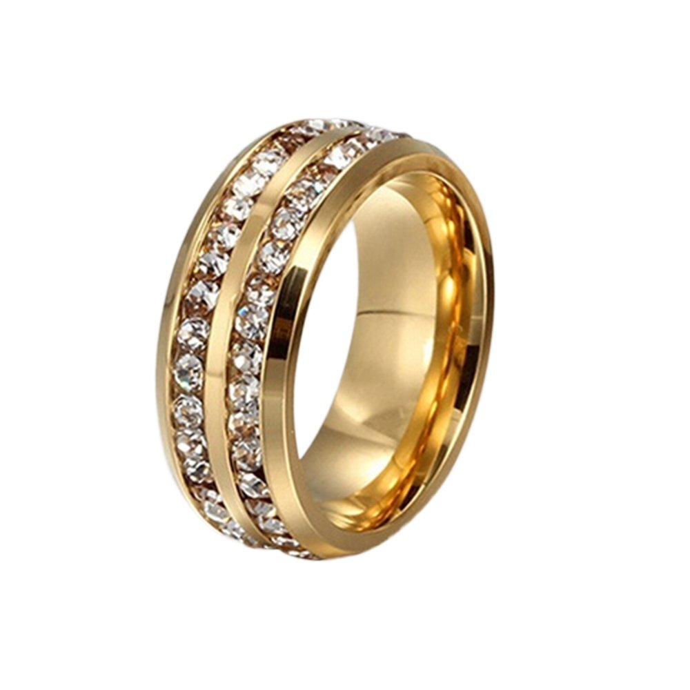 Hequ Double Diamond Titanium Stainless Steel Cincin Ukuran 17 (GOLDEN)