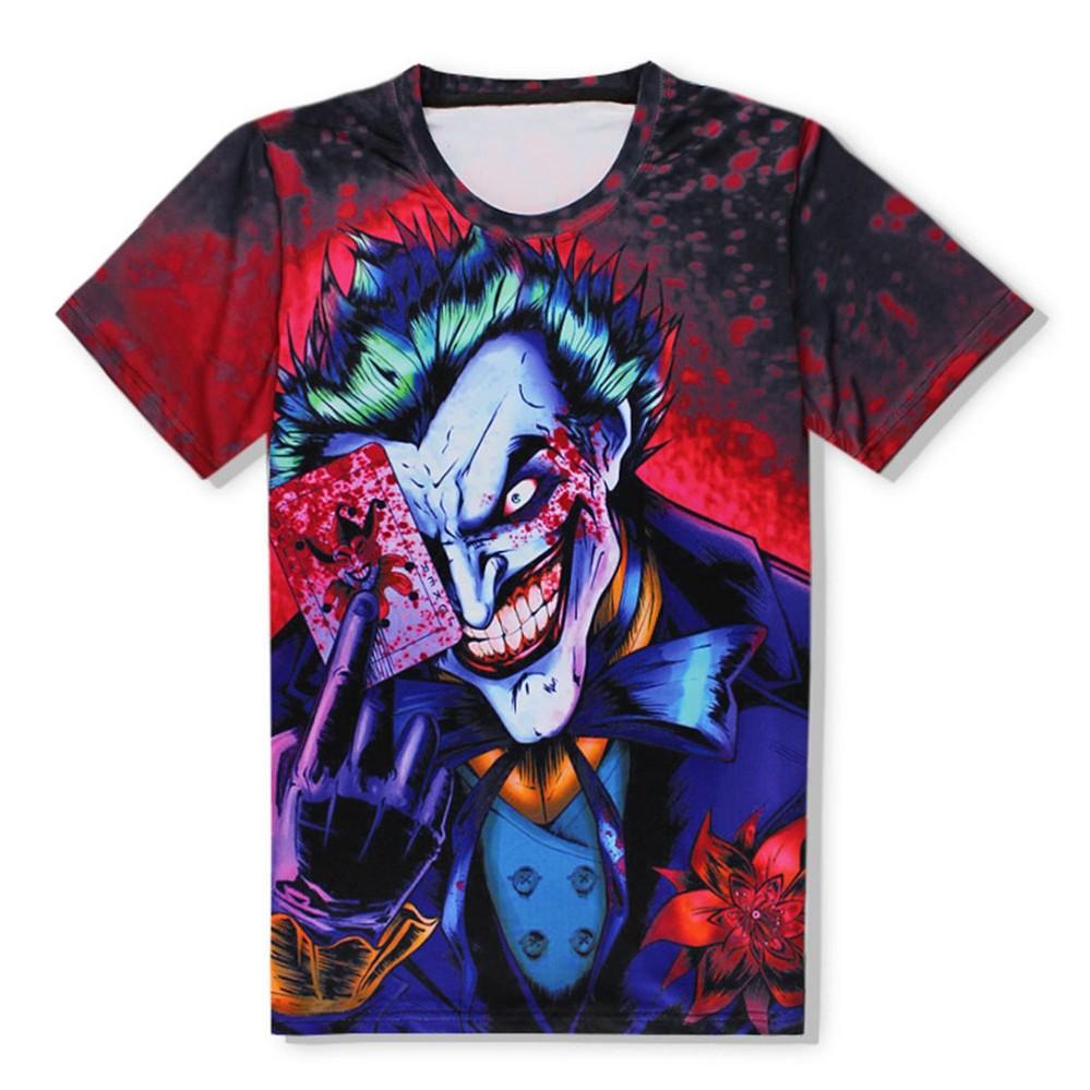 Hequ Fashion Kaos Pria 3D Kartun Joker dengan Poker Digital Cetak Tees Summer Tops-Intl