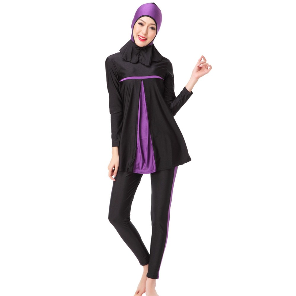 Hequ Ladies Full Cover Muslim Swimwears Islamic Womens Swimsuits Arab Islam Beach Wear Panjang Hijab Sederhana Berenang-Intl