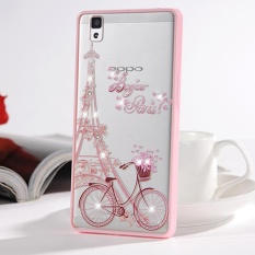 Hicase Cute Pink Soft TPU Case dengan Glitter Bling untuk OPPO R7S Sepeda & Tower-Intl