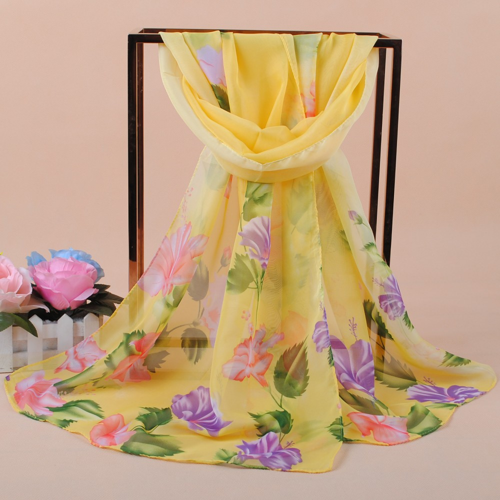High Quality Blossom Women Scarf Floral Style Cape Wrap lovely Brand New Fashionable Foulard Brief Joker Long Pashmina Shawl - intl