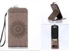 Tinggi Kualitas Embossing PU Leather Wallet Stand Flip Atas dan Ke Bawah Flip Case Cover Garis untuk Samsung Galaxy Note 4 N9100 Case-Intl