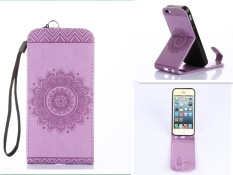 Tinggi Kualitas Embossing PU Leather Wallet Stand Flip Atas dan Ke Bawah Flip Case Cover Garis untuk Samsung Galaxy S7 Edge Case-Intl