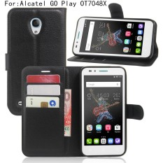 Kulit Berkualitas Tinggi Kasus Telepon [Untuk Alcatel GO Play OT7048X] Original Cell Phone Case Flip Dompet Buku Style Cover YJLX (Hitam) -Intl