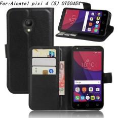 Kulit Berkualitas Tinggi Kasus Telepon [Untuk Alcatel One Touch Pixi 4 (5.0 Inch) Ot5045] Original Cell Phone Case Flip Wallet Book Style Cover YJLX (Hitam)-Intl