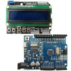 Tinggi kualitas Micro USB UNO R3 ATmega328P Dewan Pengembangan + LCD 1602 tombol tameng kit untuk Arduino