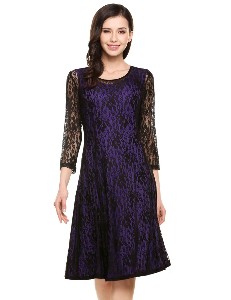 Promo High Quality Sunweb Women Plus Sizes Round Neck Long Sleeve Hollow Floral Lace Short Dress Purple Intl