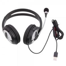 Berkualitas Tinggi dengan Kebisingan Isolasi USB Over-Ear Headphone (Hitam)-Intl