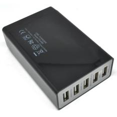 Promo High Speed Smart Usb Charger 5 Port 40W With Eu Plug Black Oem