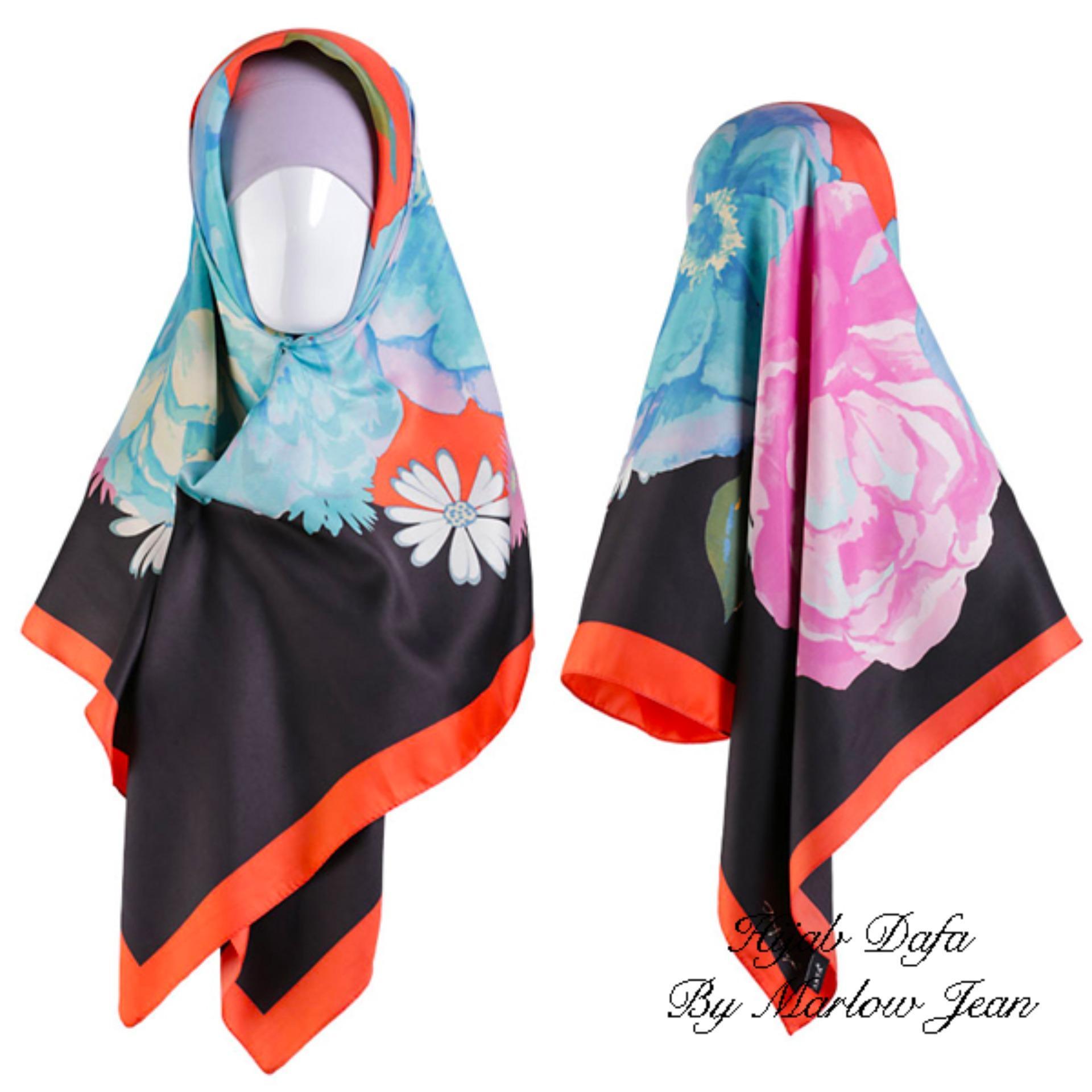 Diskon Produk Hijab Dafa Pashmina Bunga Hijab Satin Segi Empat Jilbab Motif Bunga Kombinasi Bahan Satin Motif Flower 2 Orange