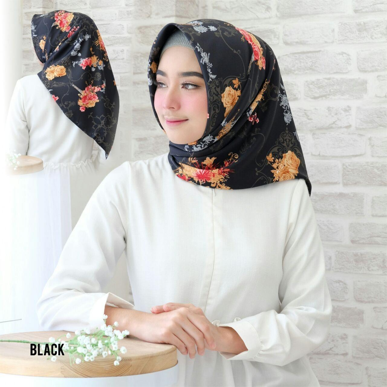 Hijab Kananta Jilbab Segi Empat Motif/ Hijab Motif Bunga Kain Velvet Premium Maxmara Square K-Diandra