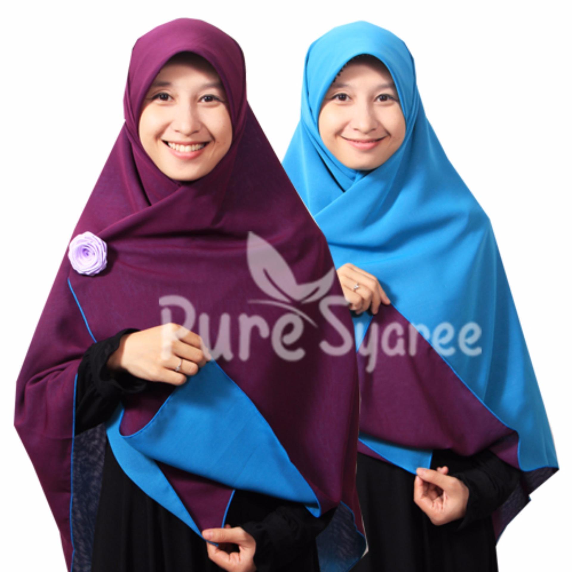 Hijab - Kerudung Segi Empat - Hijab Syari Bolak Balik Pure Syaree Ungu Tua - Turkish