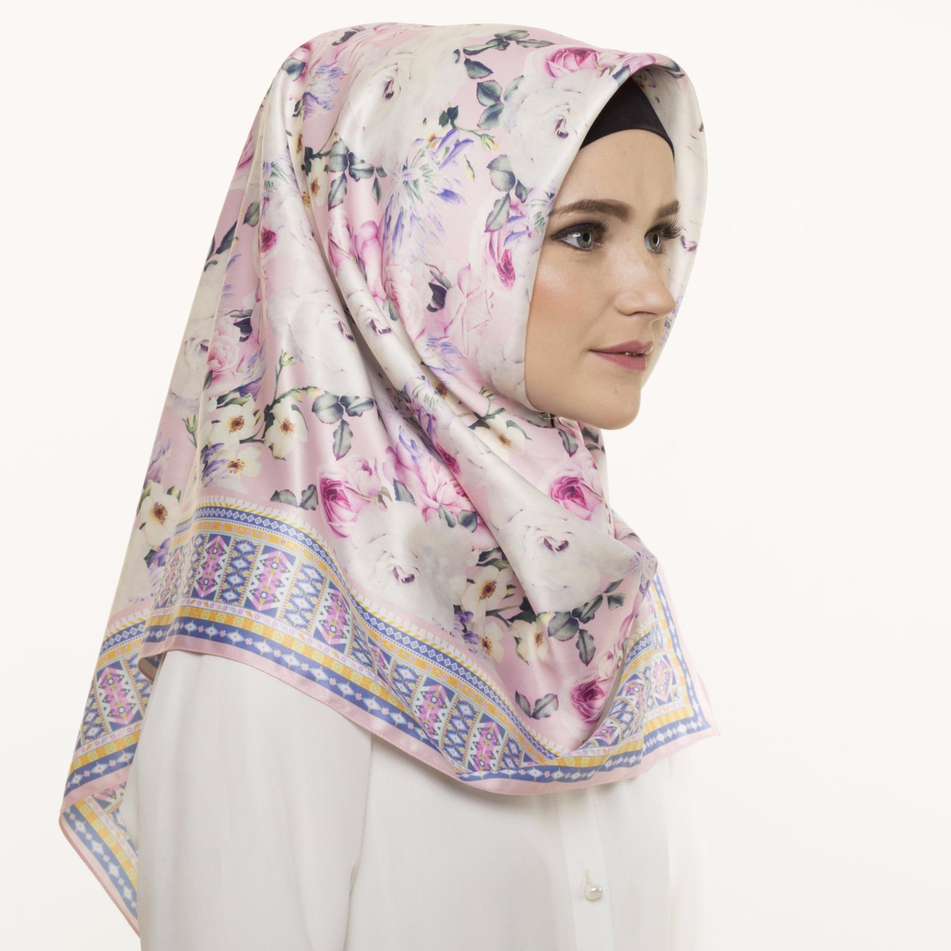 Spek Hijabstore Angel Lelga Original Scarf Al 233 Pink Off White Floral