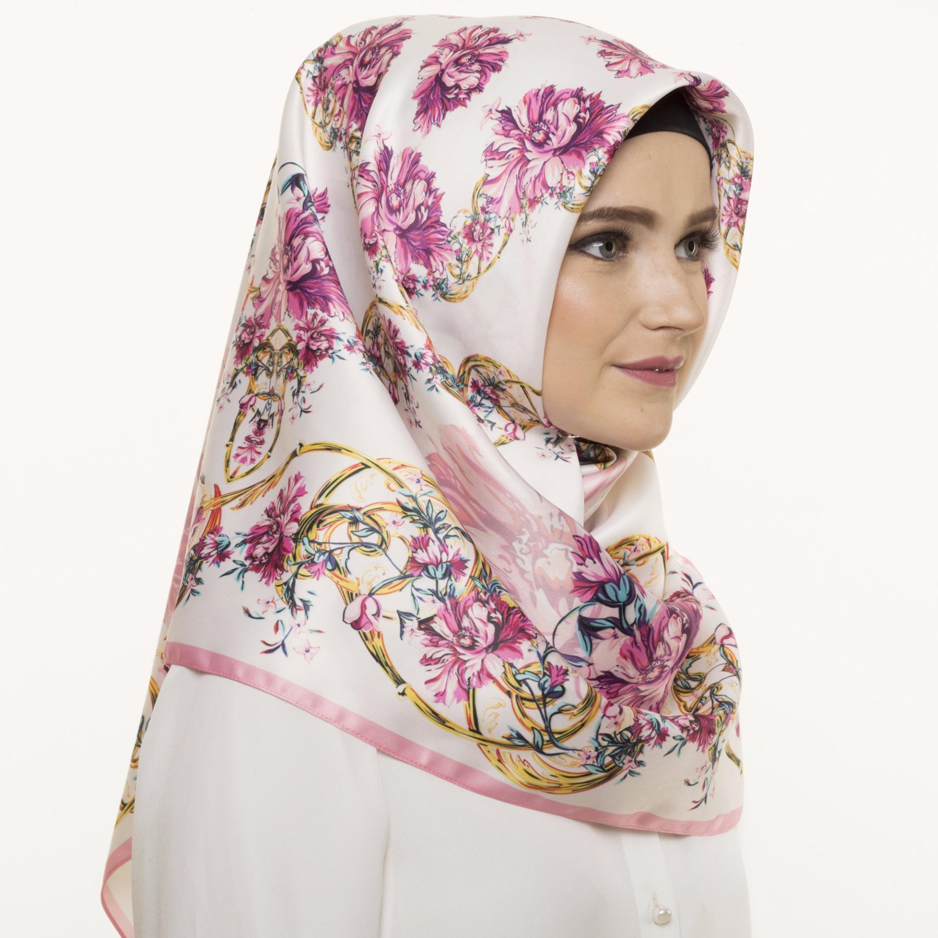 Hijabstore - Angel Lelga Original Scarf AL 242 - Cream Fuschia Floral