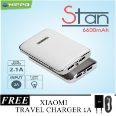 Hippo Power Bank Stan 6600Mah 2 1A Original Free Travel Charger Xiaomi 1A Promo Beli 1 Gratis 1