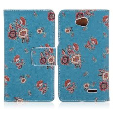 HKS Colorful Flower Folio Leather Case for T-Mobile LG Optimus L70 D320 D320N (Dark Blue) - intl
