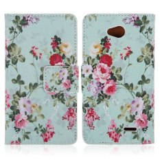 HKS Berwarna Bunga Folio Leather Case untuk T-mobile LG Optimus L70 D320 D320N (Multicolor)-Intl