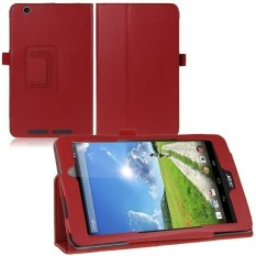 "HKS Luxury Folio PU Leather Case Stand Cover for Acer Iconia One 8 B1-810 8"" Tablet Dark Red - intl"