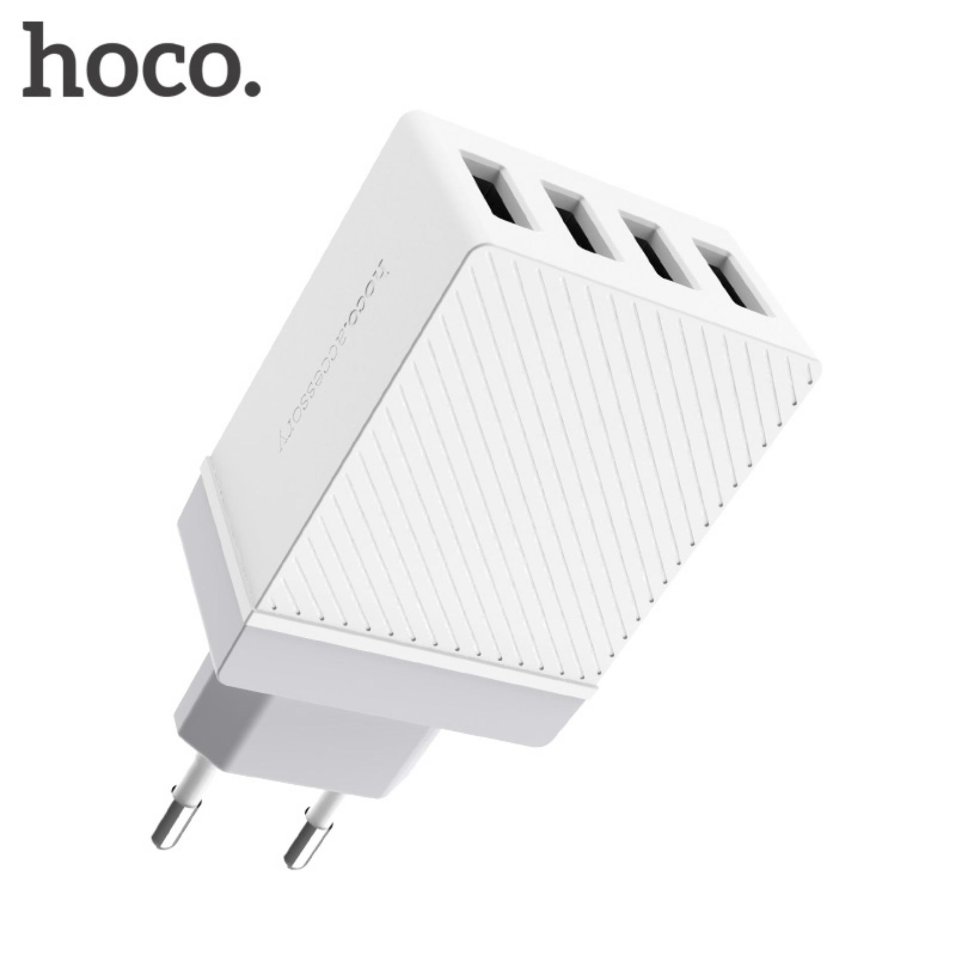 HOCO 5V 3.4A Universal 4 Port USB Charger EU UK US Plug Adaptor Cerdas untuk iPad Apple iPhone Samsung Xiaomi 4 Port USB Putih