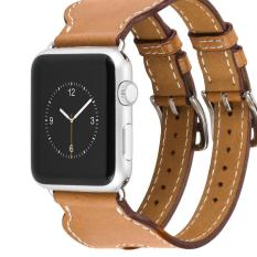 Hoco Double Buckle Genuine Leather Watch Band For Apple Watch 42mm - Cokelat