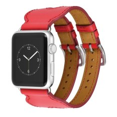 Hoco Double Buckle Genuine Leather Watch Band For Apple Watch 42mm - Merah