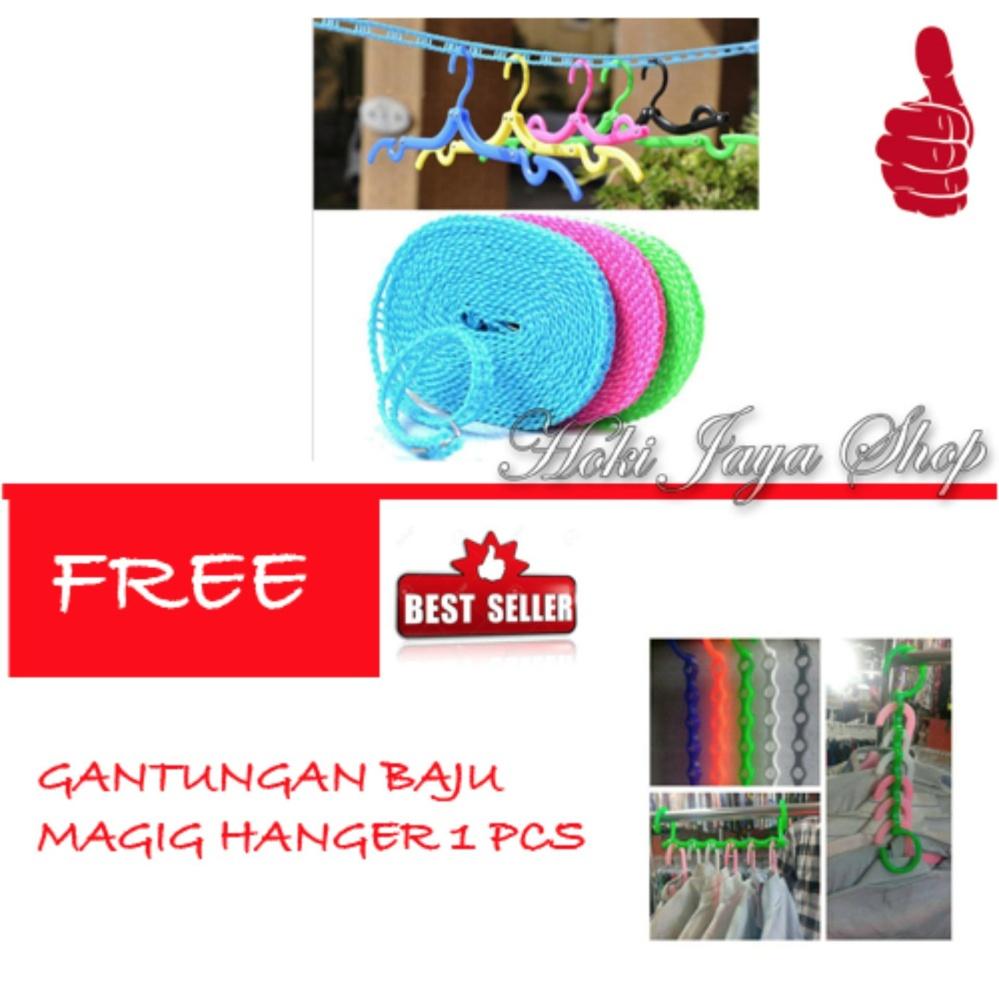 HOKI COD -  Tali Jemuran 5 meter Serbaguna - Baju Handuk Hanger - Gantungan Baju - 1 Pcs Multi Colour FREE Gantungan Baju Magic Hanger - 1 Pcs