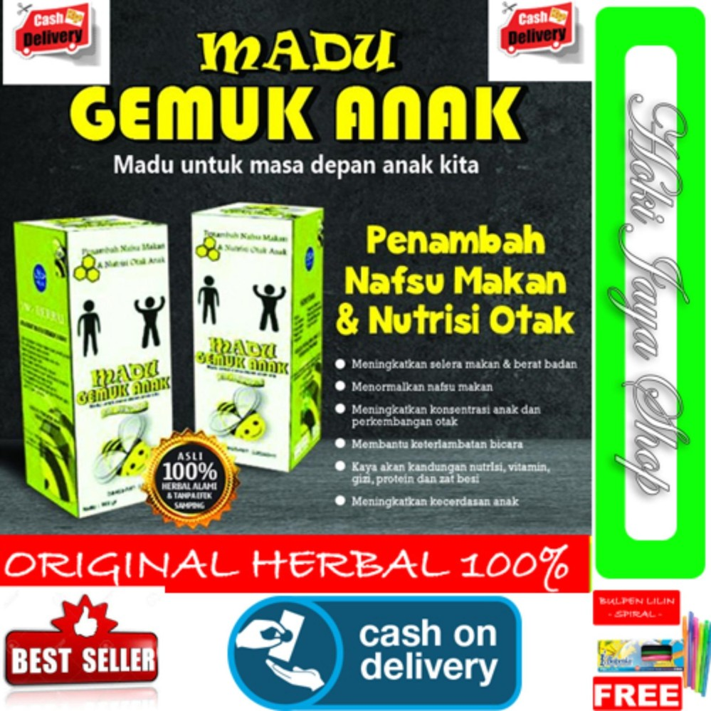 Hoki Cod - Madu Gemuk Badan Anak Madu Anak Original Herbal Premium - 175gr - Original Herbal + Gratis Pulpen Lilin Unik Serba Guna Hitam Pekat - 1 Piece By Hoki Jaya Shop.
