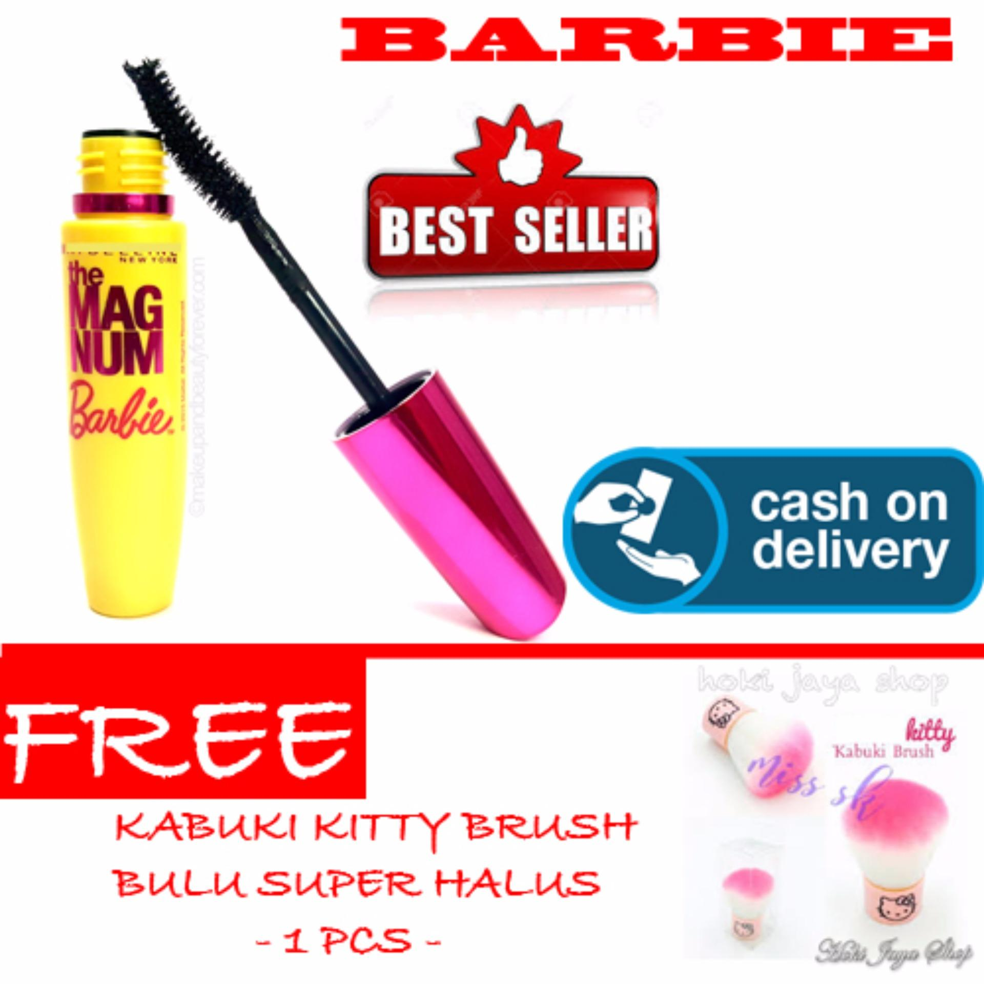 HOKI COD - Mascara Magnum Barbie - Maskara Waterproof - Model Barbie  Warna Hitam Premium Quality Top - Made In China - 1 Pcs + Gratis Kabuki Kitty Brush Bulu Super Halus Dan Model Unik - 1 Pcs