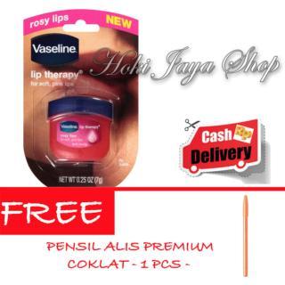 HOKI - Vaseline Lip Therapy Rosy Lips Premium Therapy - 1 Pcs + Gratis Pensil Alis Premium - Coklat - 1 Pcs thumbnail