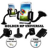 Spesifikasi Holder Kaca Smarphone Universal Smartphone Holder Holder Hp Hitam Gratis Car Charger 3 Port Kabel Charger Micro Terbaik