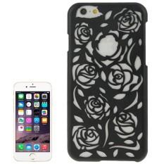 Berongga Keluar Mawar Bunga-bunga Pola Pelindung Keras Case untuk iPhone 6 Plus & 6 S Plus (Hitam) -Internasional