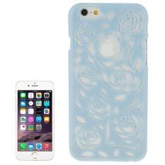 Berongga Keluar Mawar Bunga-bunga Pola Pelindung Keras Case untuk iPhone 6 Plus & 6 S Plus (Biru) -Internasional