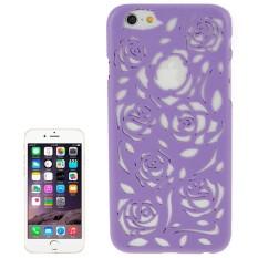 Berongga Keluar Mawar Bunga-bunga Pola Pelindung Keras Case untuk iPhone 6 Plus & 6 S Plus (Ungu) -Internasional