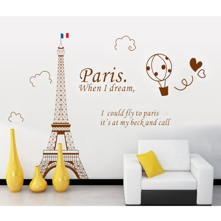 Jual Home Decor Wallsticker Stiker Dinding Fly To Paris Ay9132B Coklat Antik