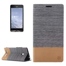 Horizontal Flip Canvas Leather Case dengan Kartu Slot dan Holder untuk ASUS Zenfone 6 (Abu-abu Gelap)-Intl