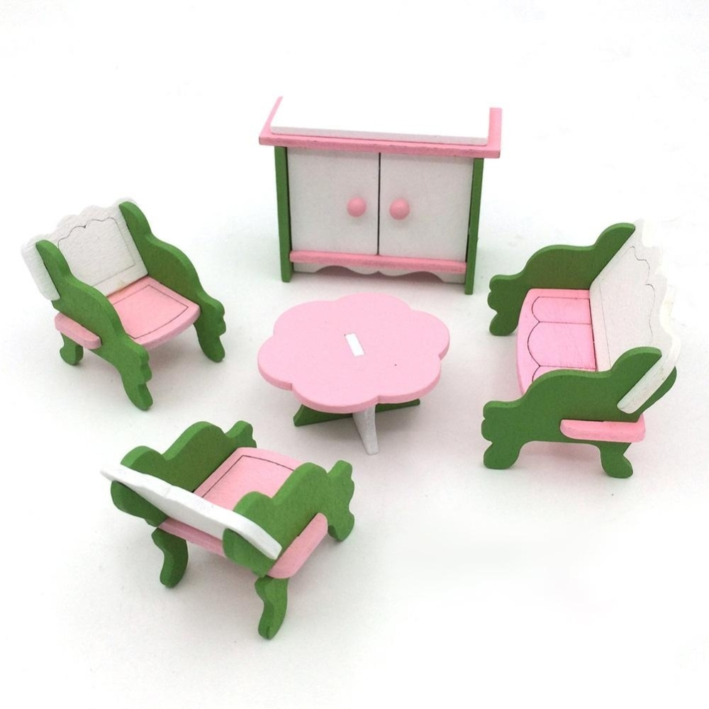 Hossen Kreatif Simulasi Kayu Furniture 3D Assembly Puzzle Set Bahan Kayu: Ruang Tamu