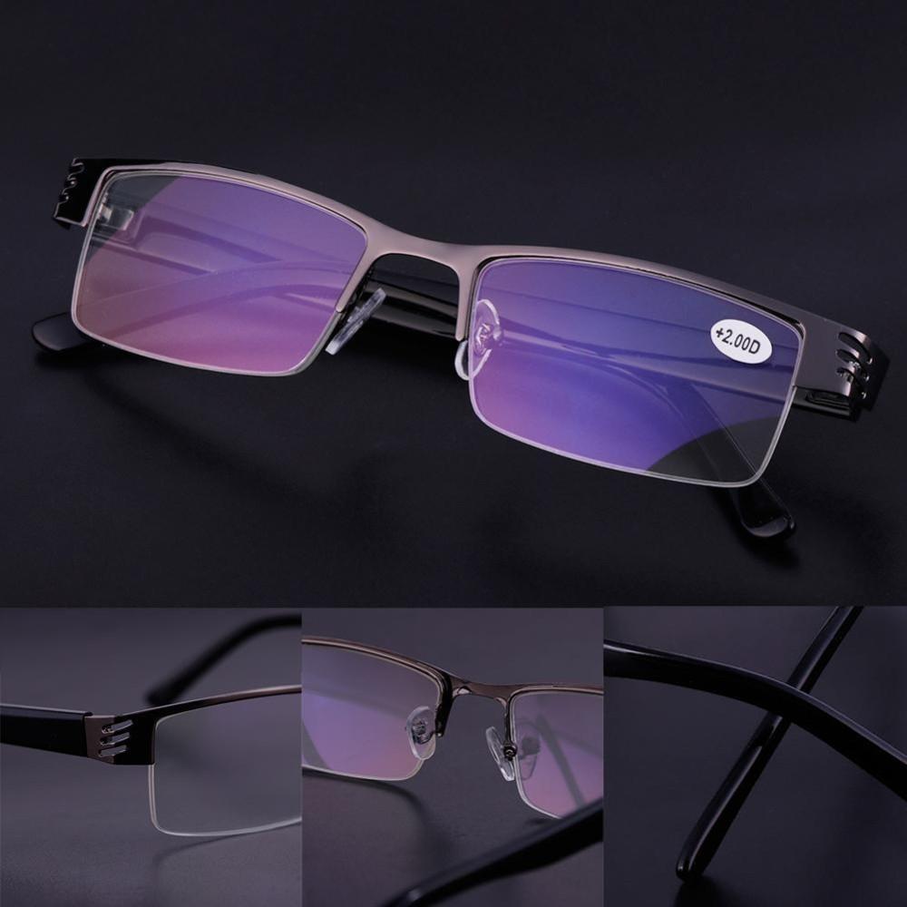 HOT Fashion Wanita Pria Half Frame Style Blue Film Resin Anti-radiasi Kacamata Baca Kacamata