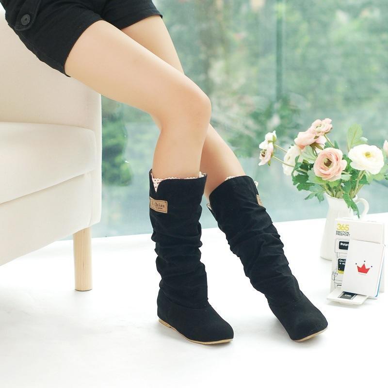 Hot Musim Gugur Musim Dingin Womens Pertengahan Betis Sepatu Bot Salju Internal Yang Meningkat Tumit Sepatu HITAM