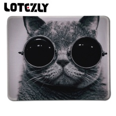 Hot Sell Glasses Cat Picture Stitched Edge Rubber Mice Mat Anti -Slip Laptop Pc Mousemat For Optical Laser Mouse Promotion