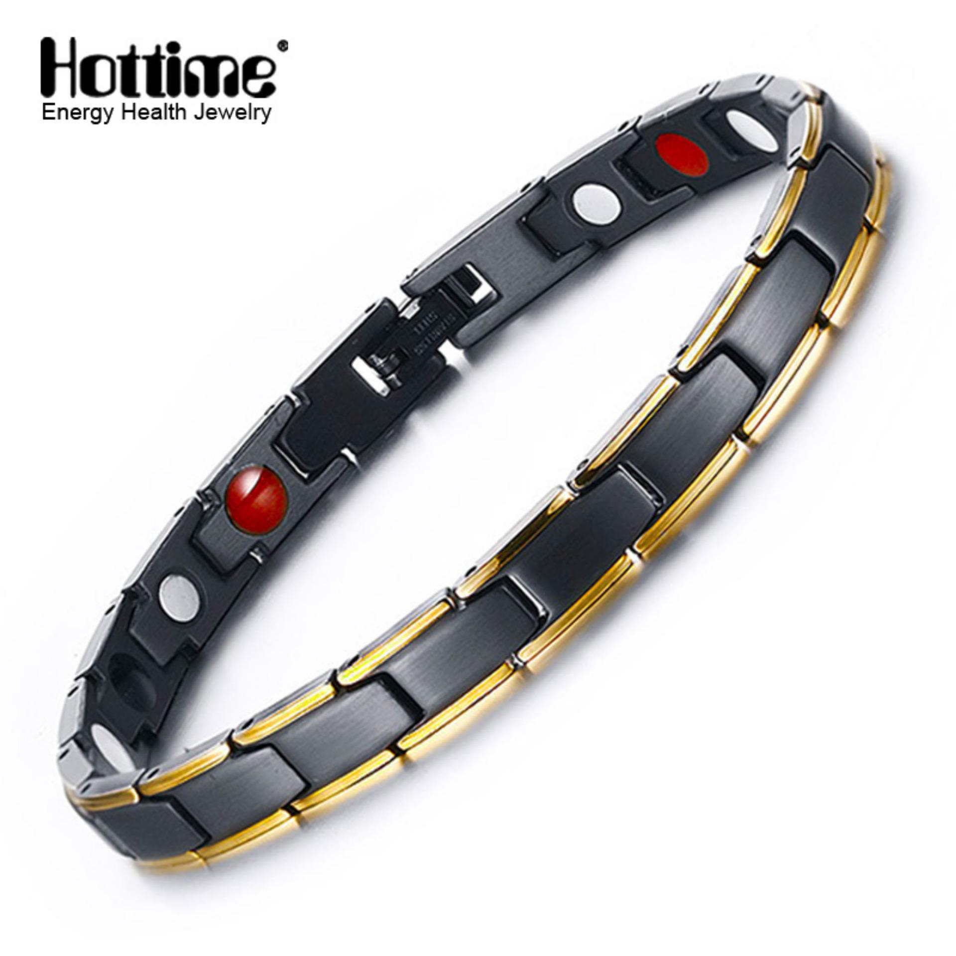 Harga Hottime 4 In 1 Magnetic New Fashion Lovers Jewelry Steel Black Gold Titanium Bracelet For Women And Men Never Fade Top Quality 10089 Intl Dan Spesifikasinya