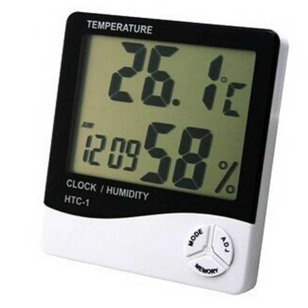 Obral Htc 1 Lcd Screen Digital Hygrometer Thermometer Temperature And Humidity Meter With Clock White Murah