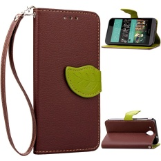 HTC Desire 520 Case, Unique Leaf Magnet PU Leather Flip Wallet Stand Hand Strap Card Slots Case Cover for HTC Desire 520 (Brown) - intl