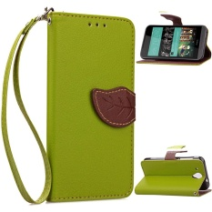 HTC Desire 520 Case, Unique Leaf Magnet PU Leather Flip Wallet Stand Hand Strap Card Slots Case Cover for HTC Desire 520 (Green) - intl