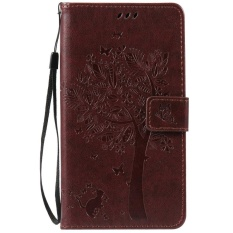 HTC Desire 825 Case, [FQY-TEC] [Coklat] [Embossed] C [PU Leather] dan [TPU] Dompet, Slot Kartu, Berdiri Case For HTC Desire 825 (5.5 Cm)-Internasional