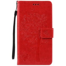 HTC Desire 825 Case, [FQY-TEC] [Merah] [Embossed] C [PU Leather] dan [TPU] Dompet, Slot Kartu, Berdiri Case For HTC Desire 825 (5.5 Cm)-Internasional