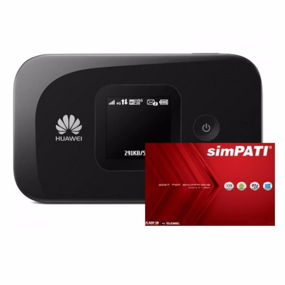 Huawei E5577 Modem MIFI 4G LTE Bundling Kartu Simpati 14GB - Hitam